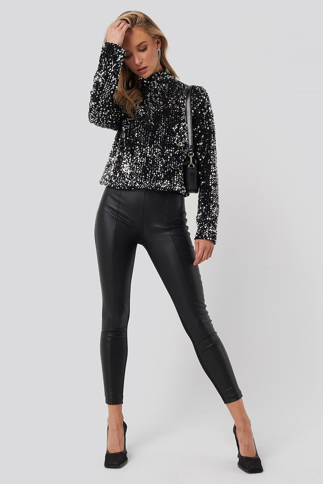 Turtle Neck Sequine LS Top Silver Outfit