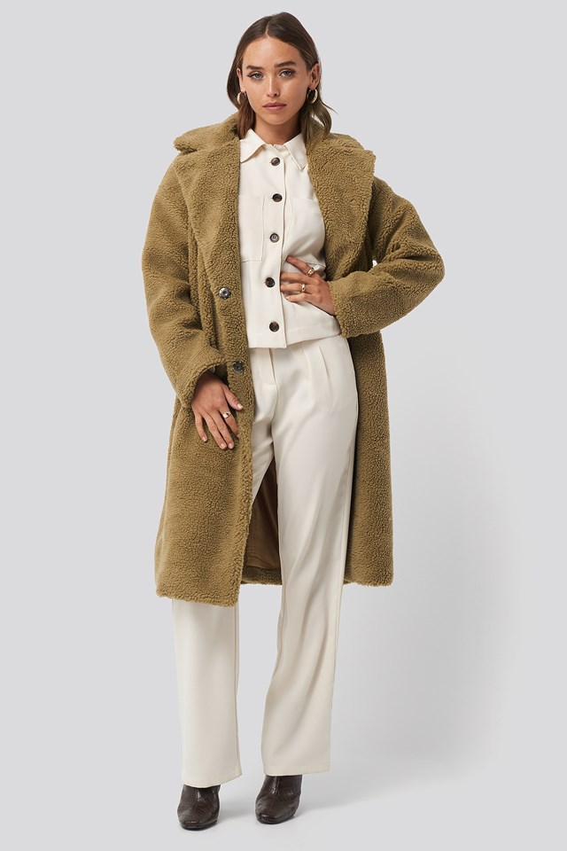 Big Collar Teddy Coat Brown Outfit