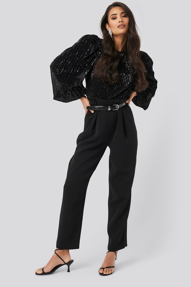 Puff Sleeeve Sequin Blouse Black Outfit