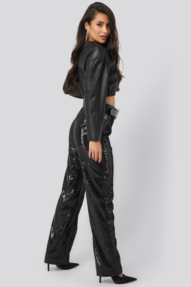 Wide Sequin Pant Black Outfit