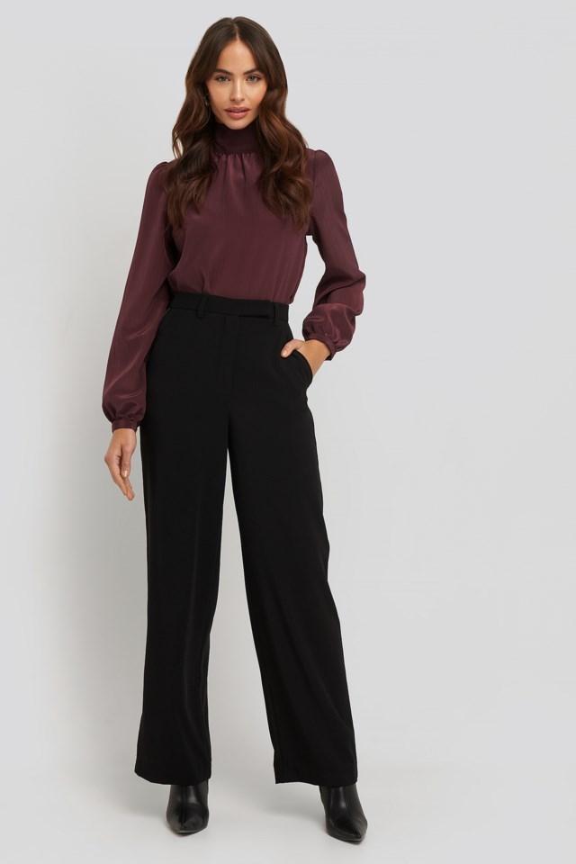 Satin Detail Pants Black Outfit