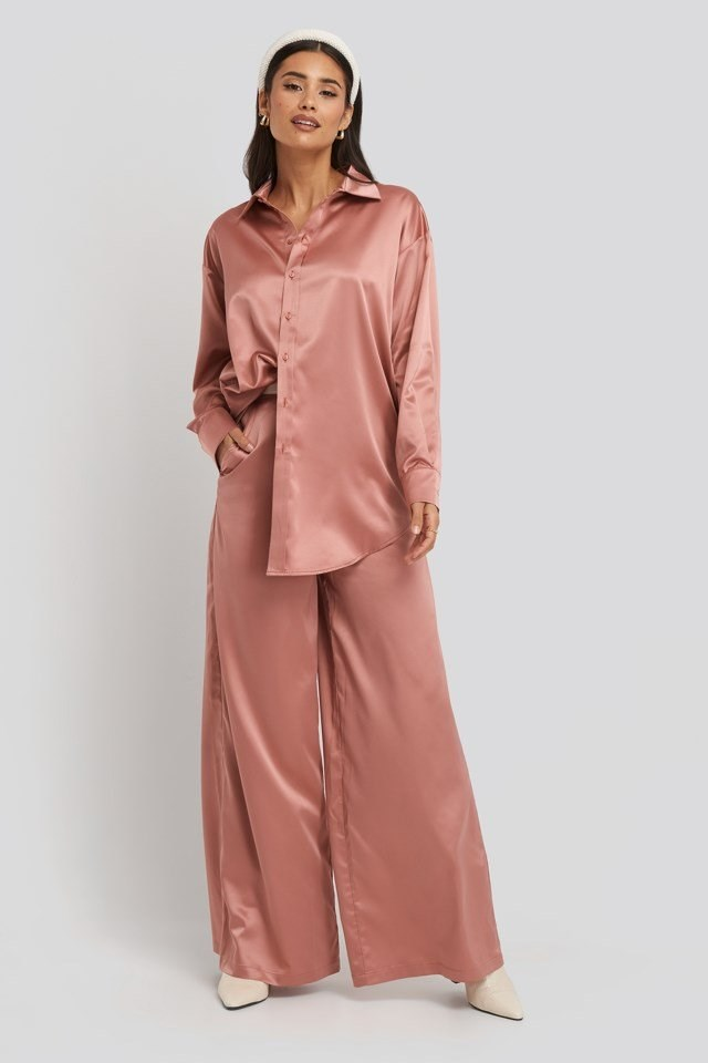 Wide Leg Satin Pants Pink Outfit