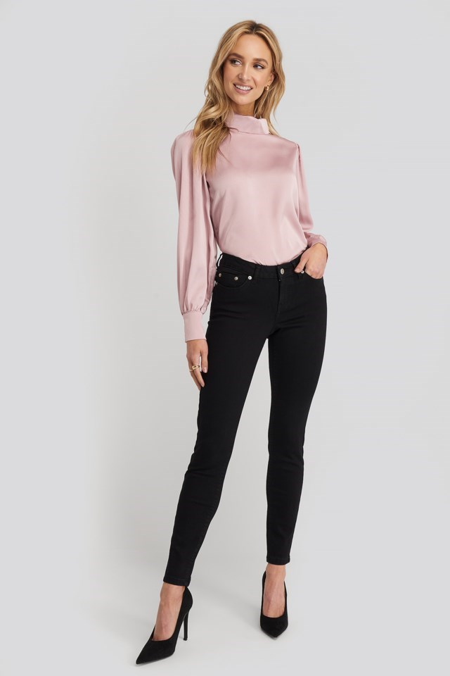 Standing Collar Blouse Outfit
