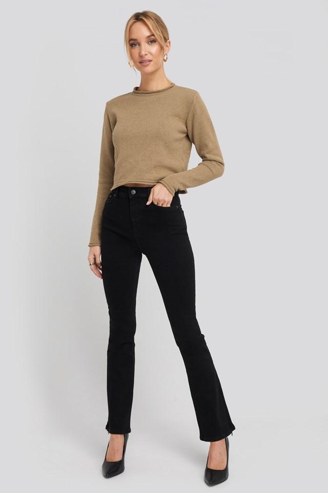 Recycled Split Hem Skinny Jeans Black Outfit