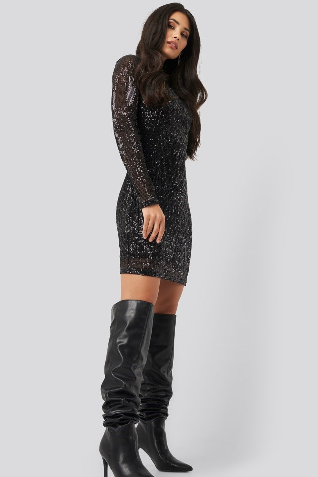 Sequin Round Neck Mini Dress Black Outfit