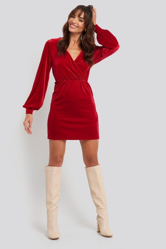 Velvet Overlap Mini Dress Red Outfit