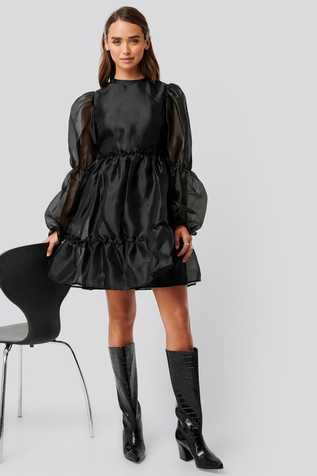 Organza Puff Sleeve Dress Black Outfit