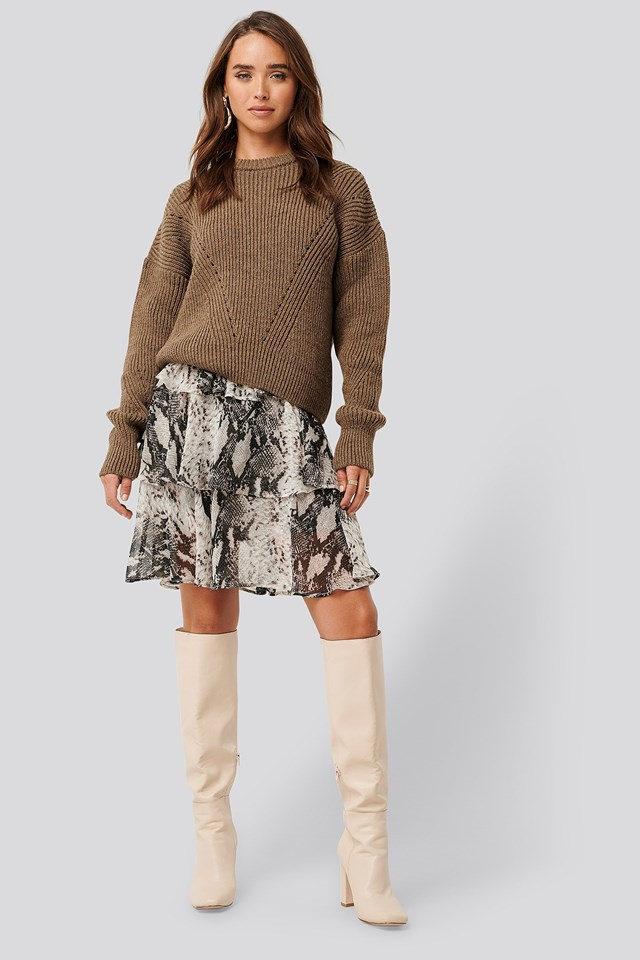 Wool Blend Pointelle Stitch Sweater Brown Outfit