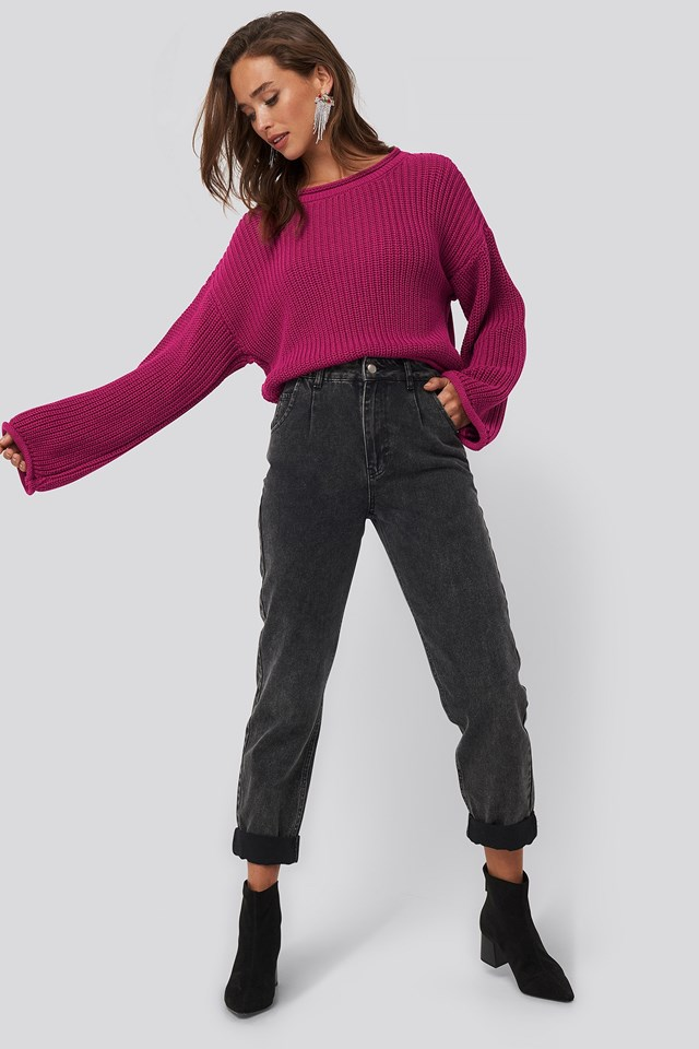 Cropped Boat Neck Knitted Sweater Pink Outfit