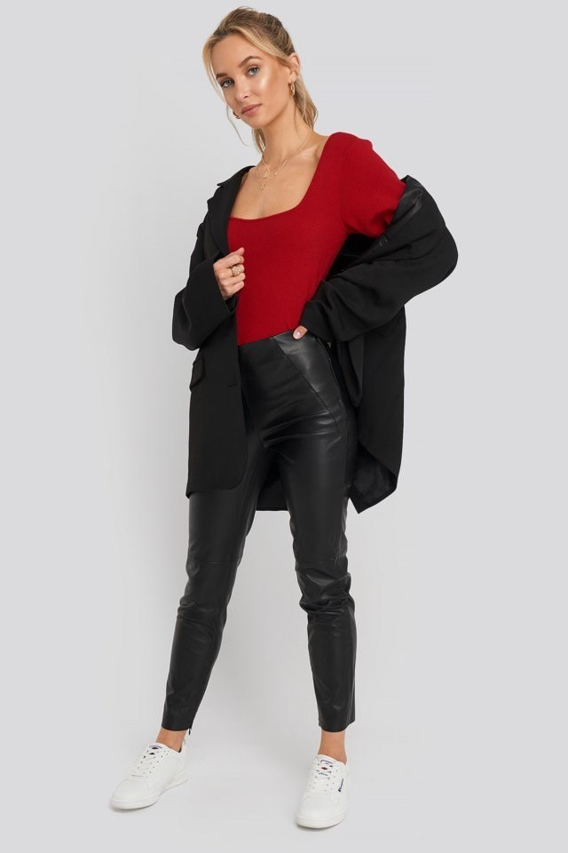 Front Detail Seam Pu Pants Black Outfit