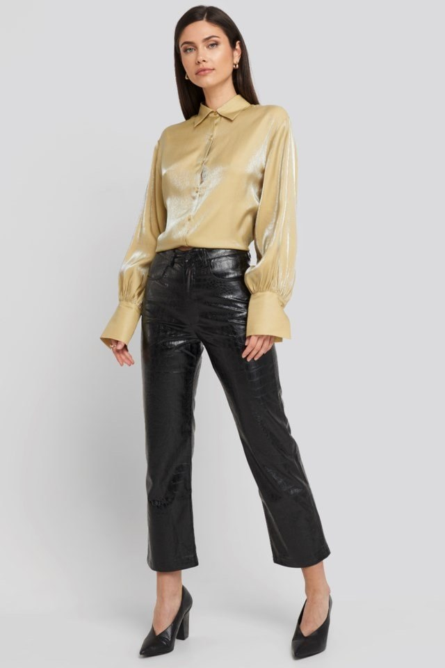 Embossed Croco Pu Pant Black Outfit