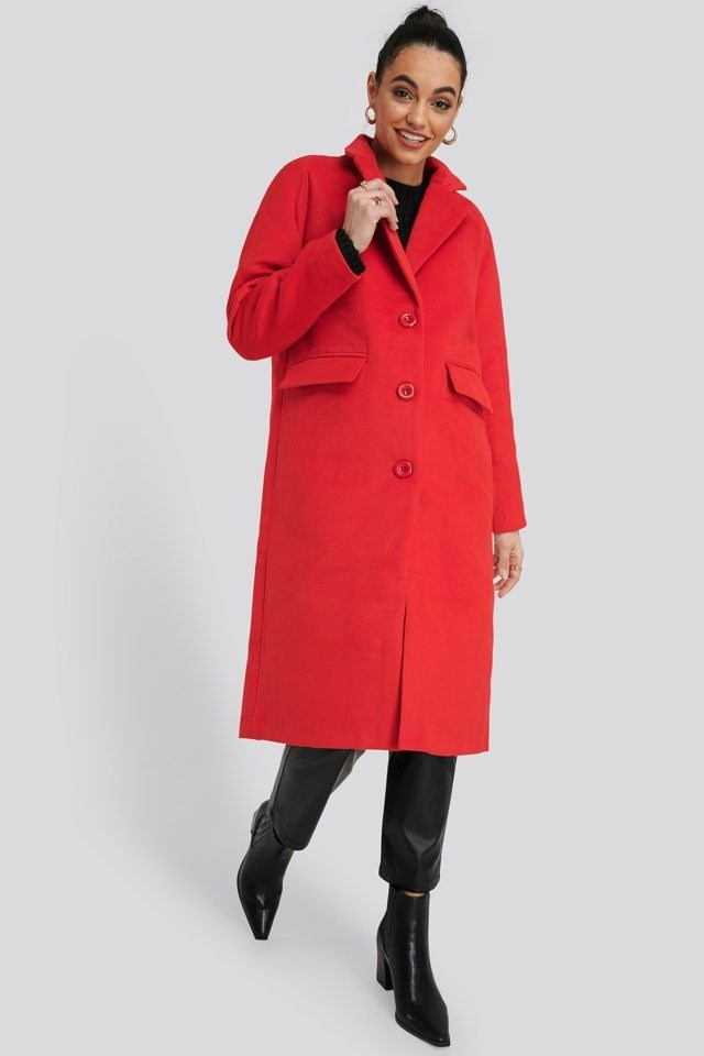 Single Breasted Lapel Coat Red Outfit