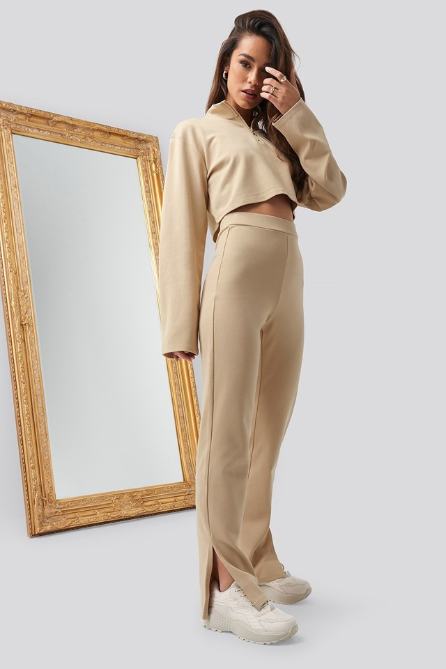 Front Zipper Sweater Beige Outfit