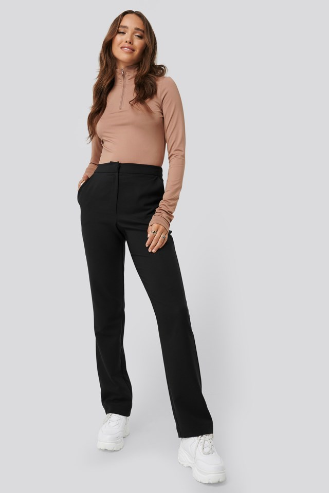 High Neck Zip Detail Top Outfit