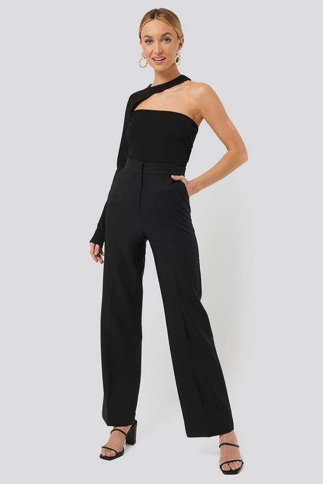 One Sleeve Cut Out Jersey Top Black Outfit
