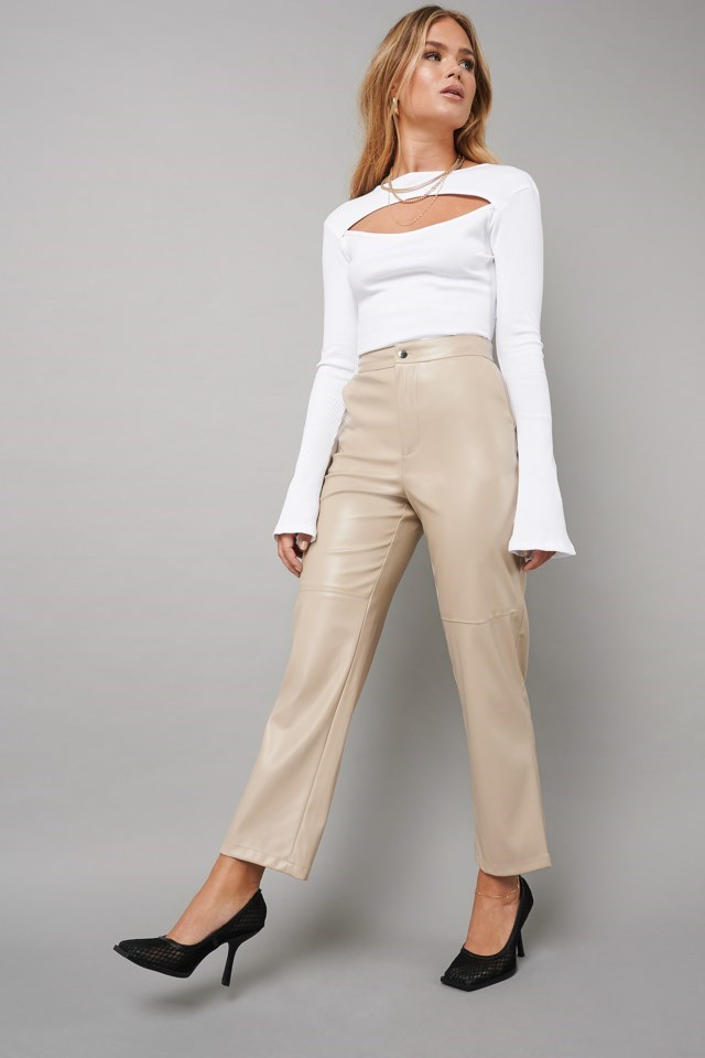 Cut Out Ribbed Top Outfit