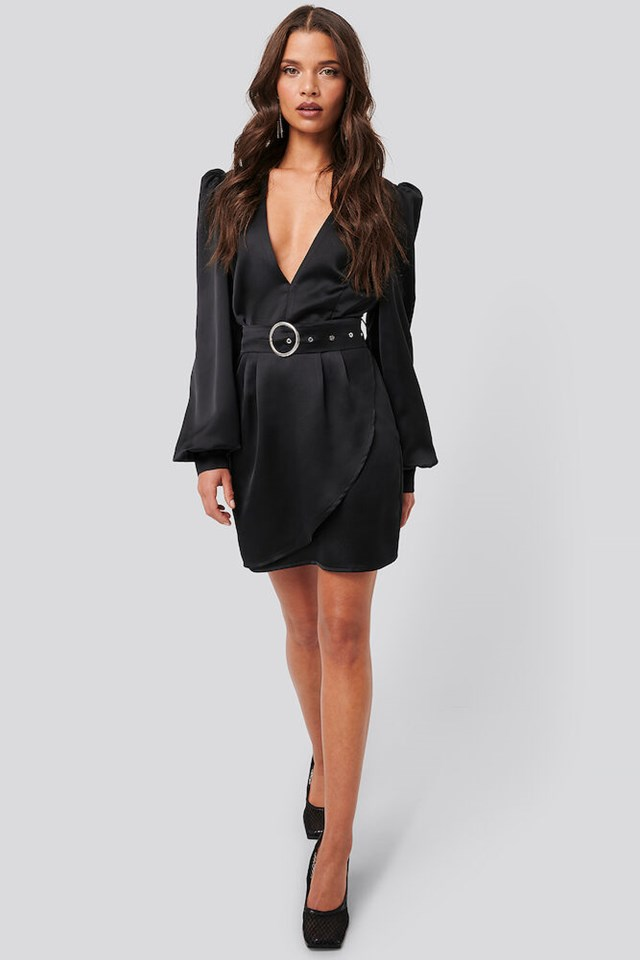 Puffy Sleeve Belted Satin Dress Outfit
