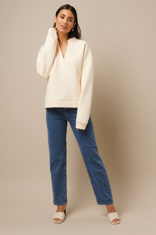 Button Sweatshirt White Outfit