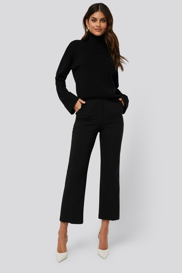 High Neck Knitted Sweater Outfit