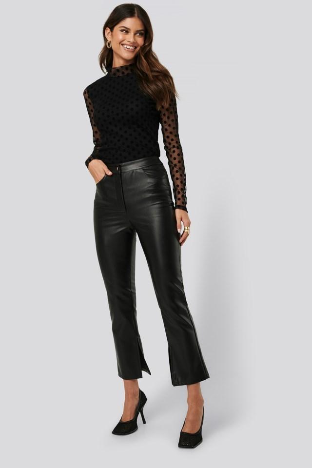 Side Slit PU Pants Black Outfit