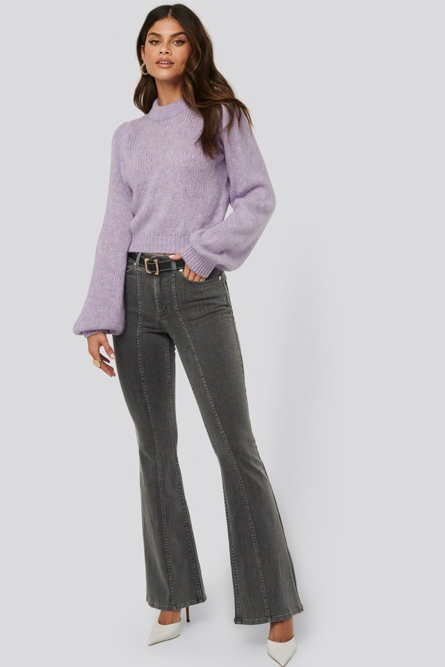 Puff long sleeve sweater Purple Outfit