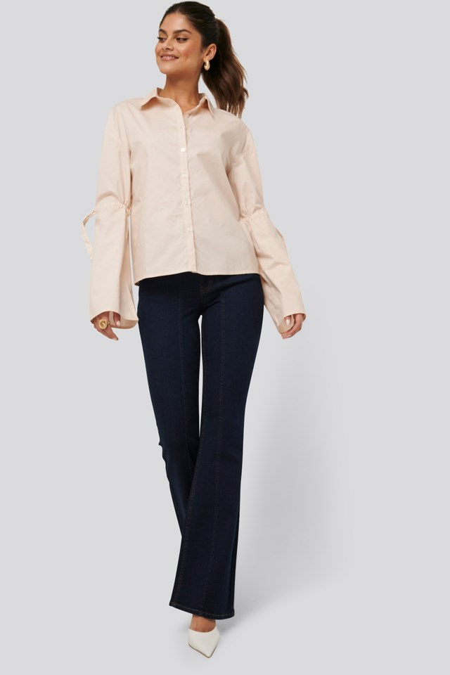 Tied Arms Shirt Beige Outfit