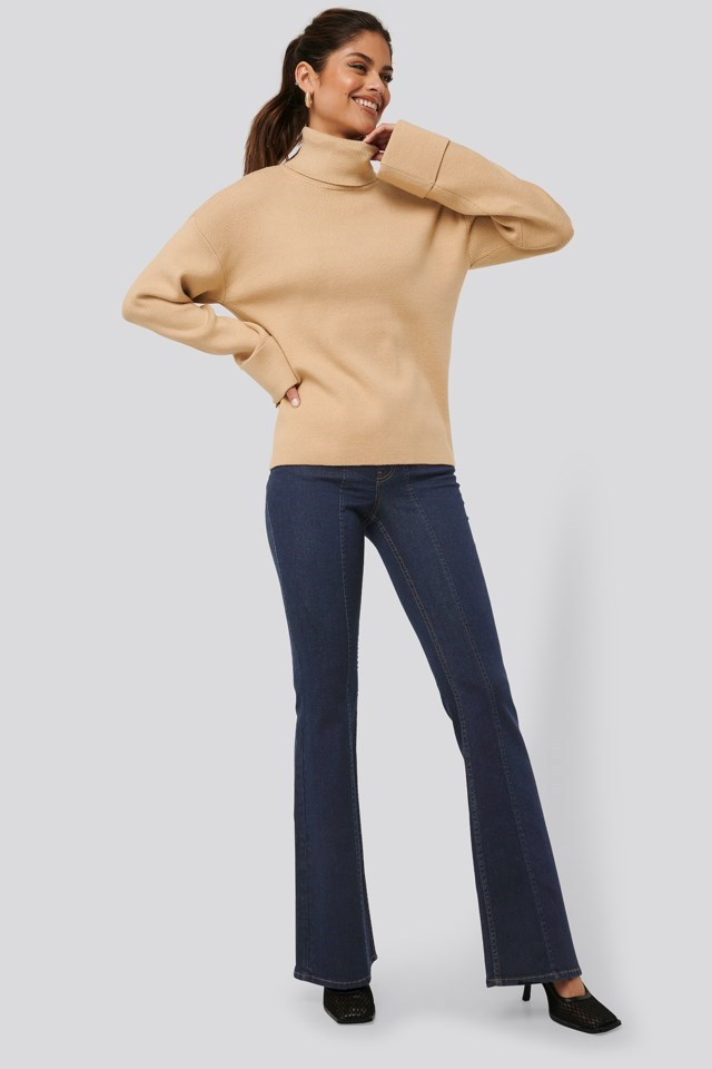High Neck Knitted Sweater Beige Outfit