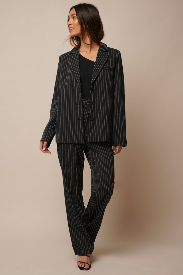 Pinstriped Straight Suit Pants