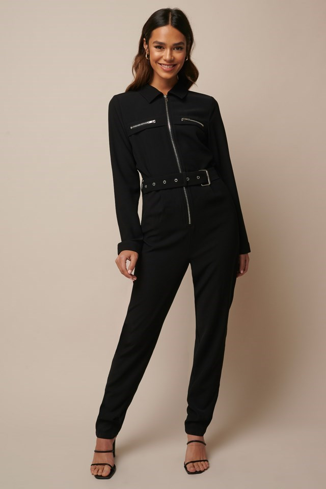 Belted Zip Detail Jumpsuit Outfit