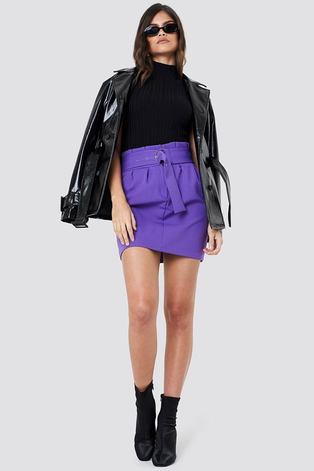 Leather Jacket with Mini Skirt