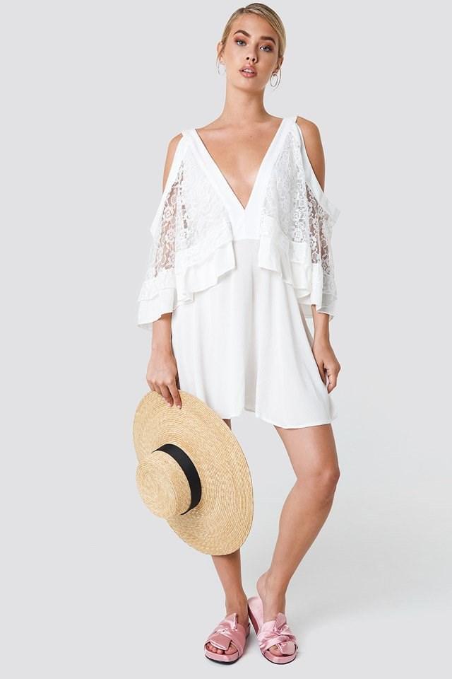 White V-Neck Mini Dress