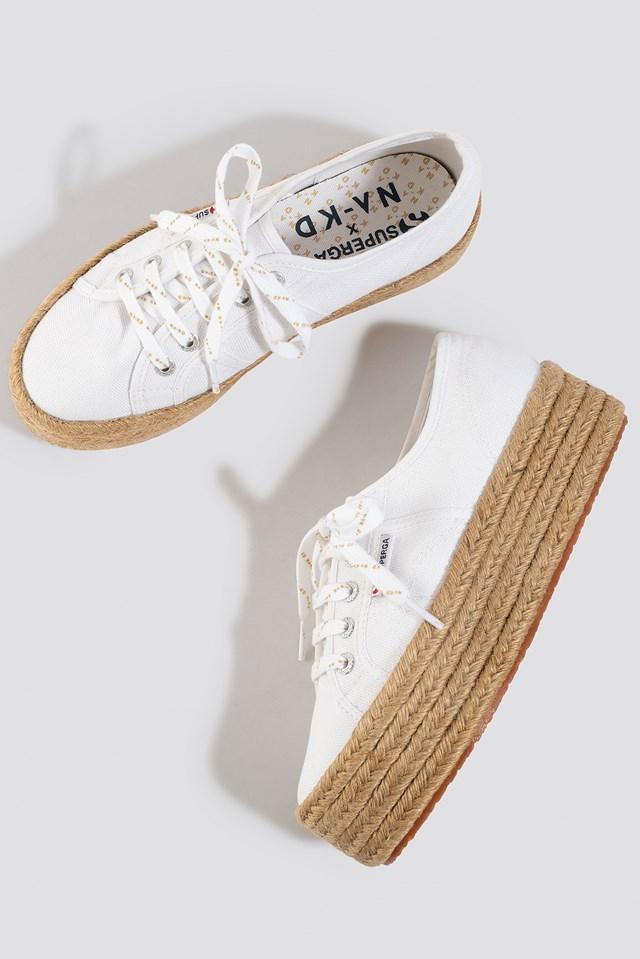 Braided Flatform Sneaker White
