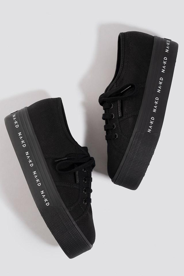 Branded Flatform Sneaker Black/White