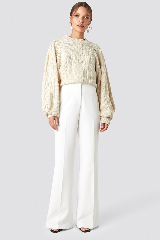 High Waist Bootcut Pants White