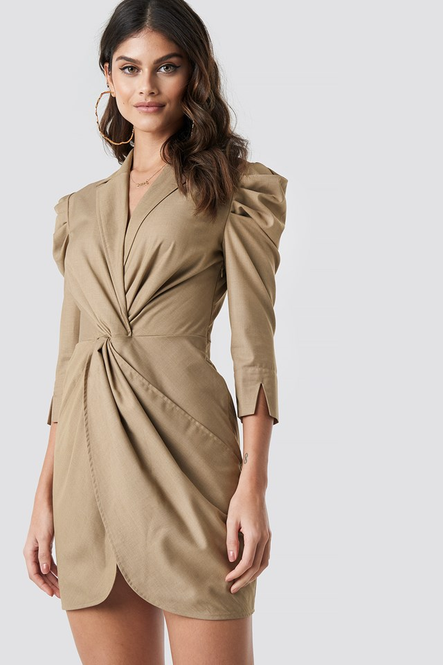 Front Knot Shirt Dress Taupe