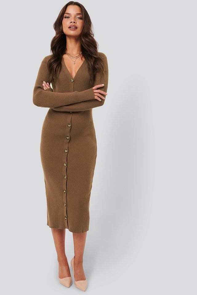 Ribbed Knitted Midi Dress Brown