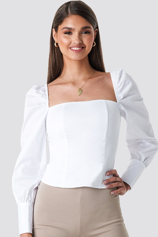 Straight Shape Puffy Sleeve Blouse White