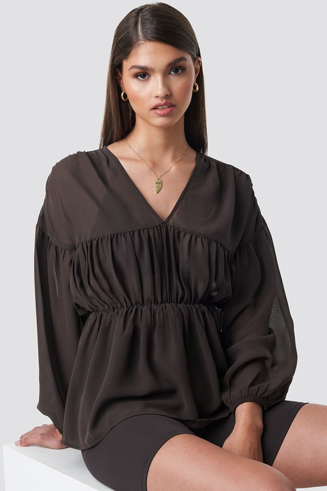 V-neck Draped Chiffon Blouse Dark Brown
