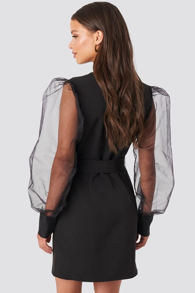 Organza Sleeve Mini Dress Black