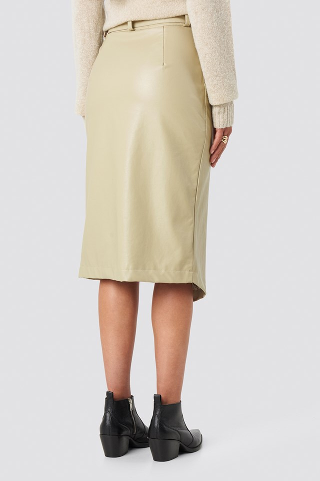 Overlapped Faux Leather Midi Skirt Beige