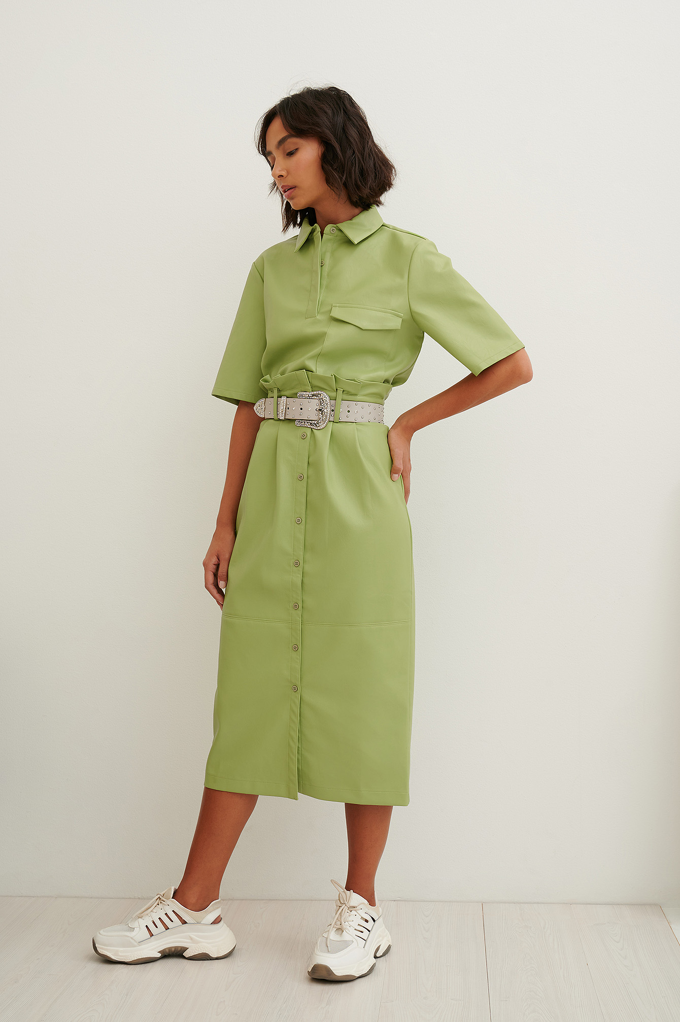 Green Paperwaist Pu Midi Skirt