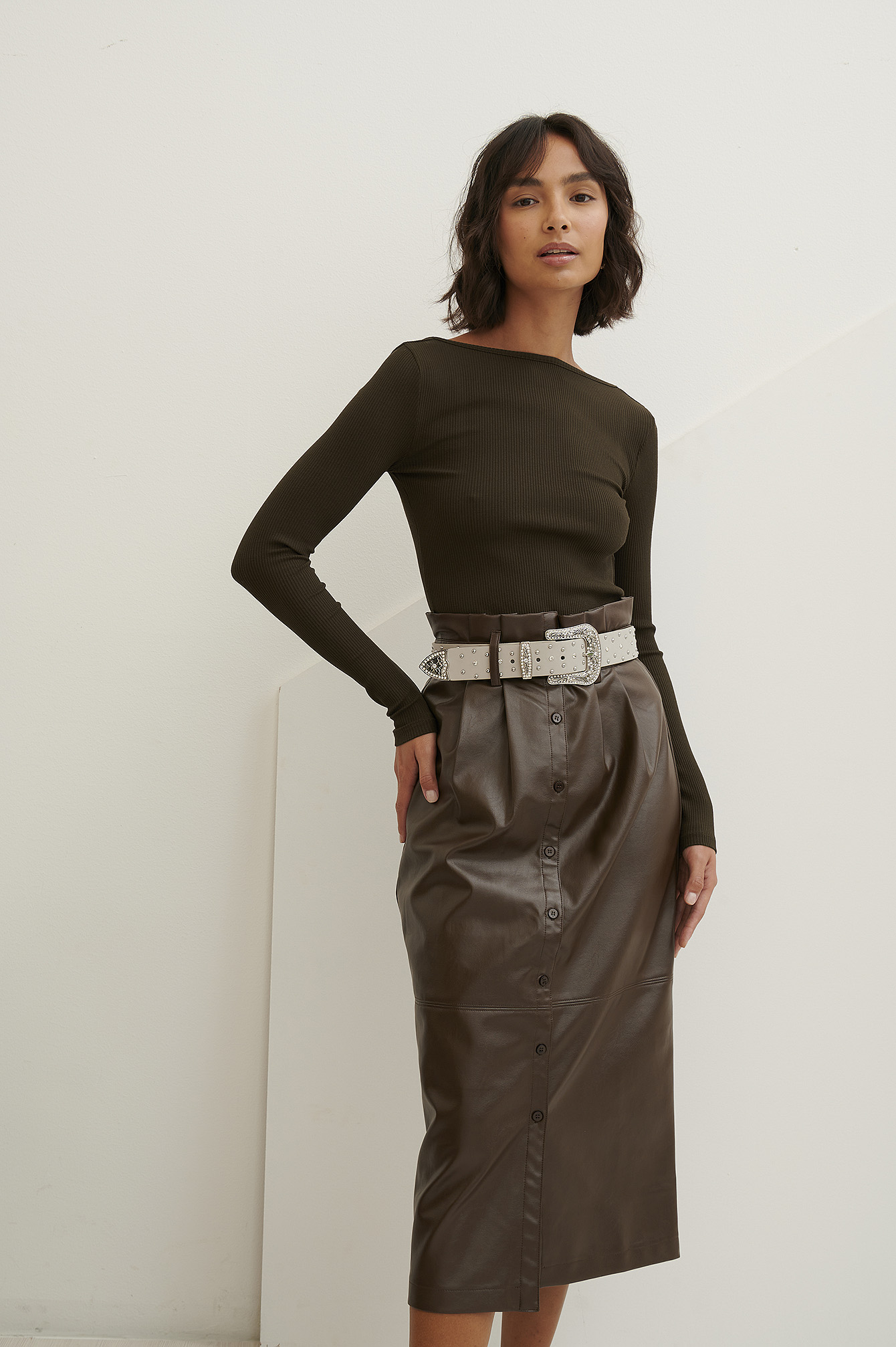 Brown Paperwaist Pu Midi Skirt