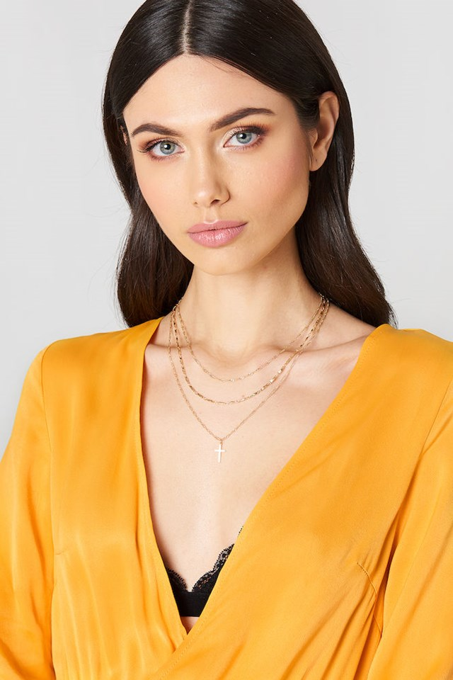 Layered Cross Necklace Gold