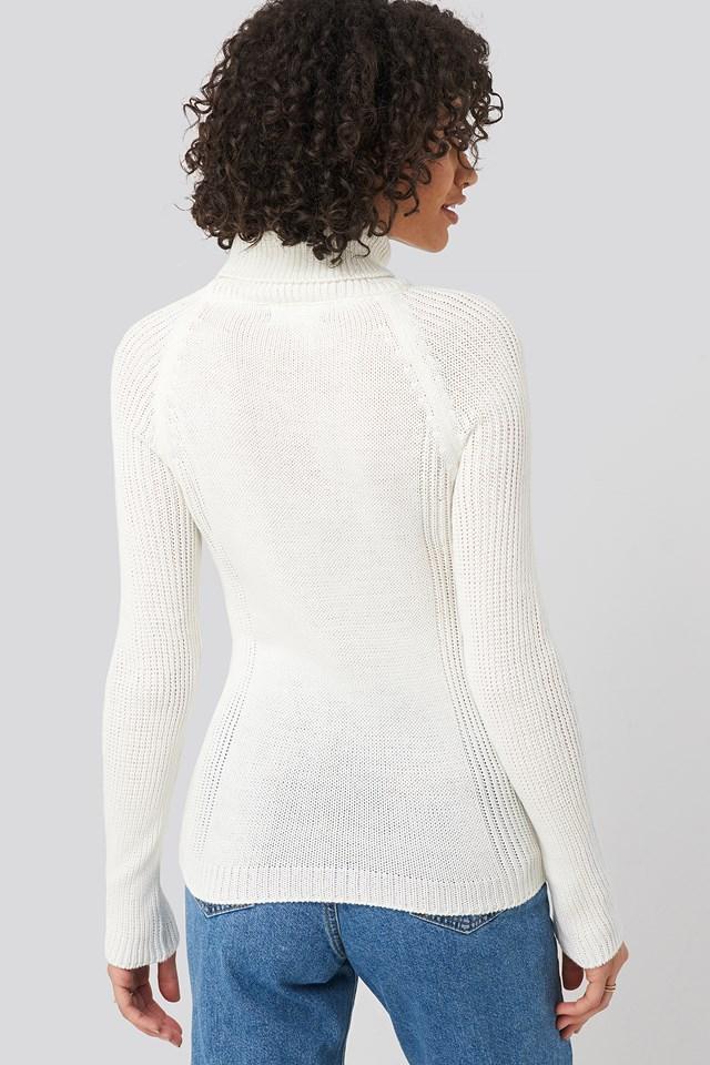 Basic Turtleneck Knitted Sweater Ecru
