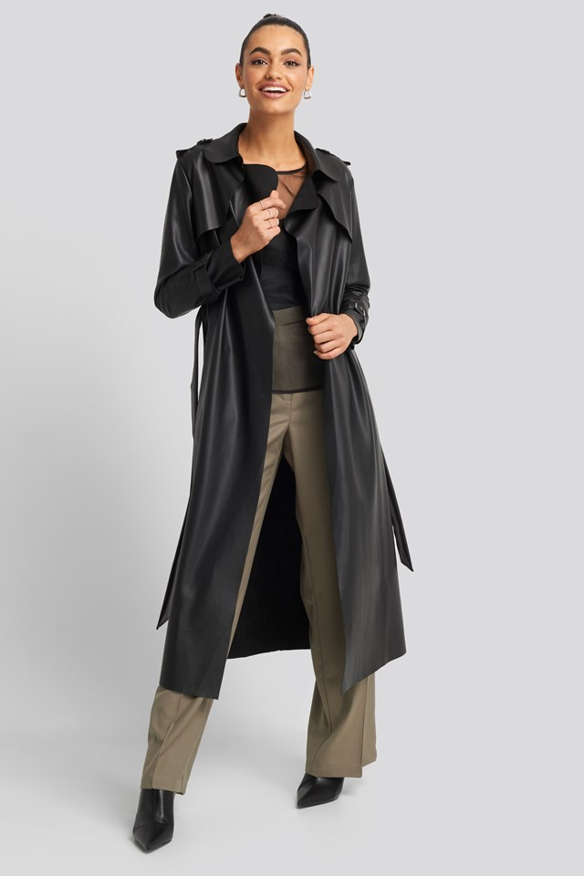 Long PU Coat Trendyol