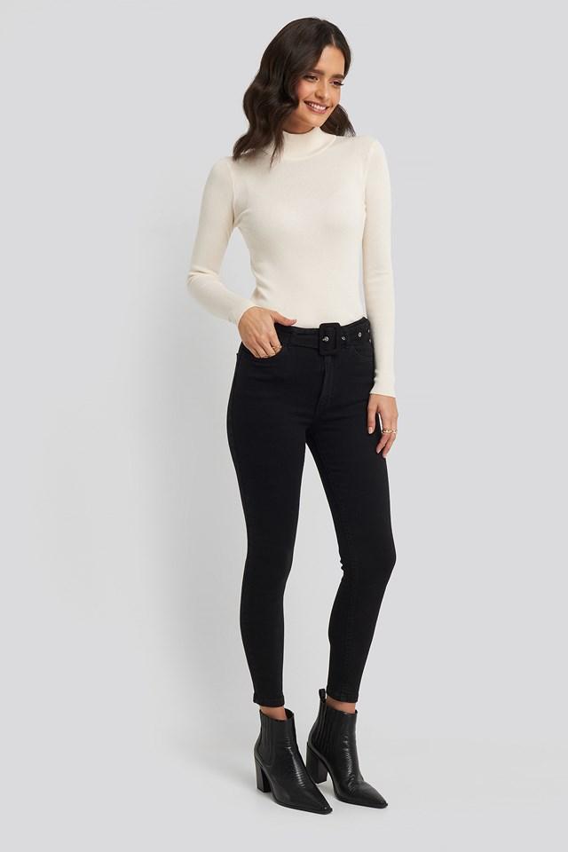 Belted High Waist Skinny Jeans Trendyol