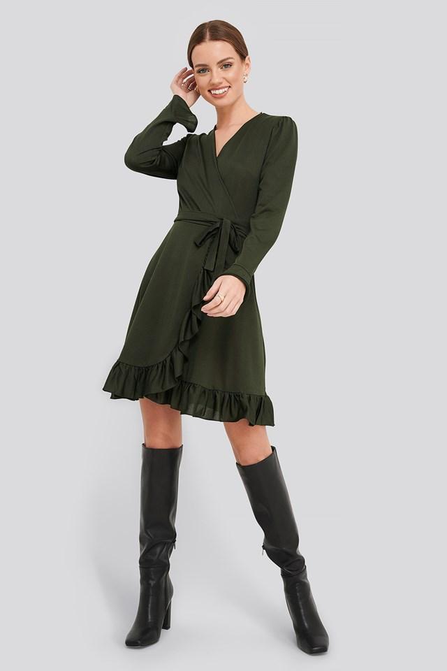 Binding Detailed  Dress Khaki