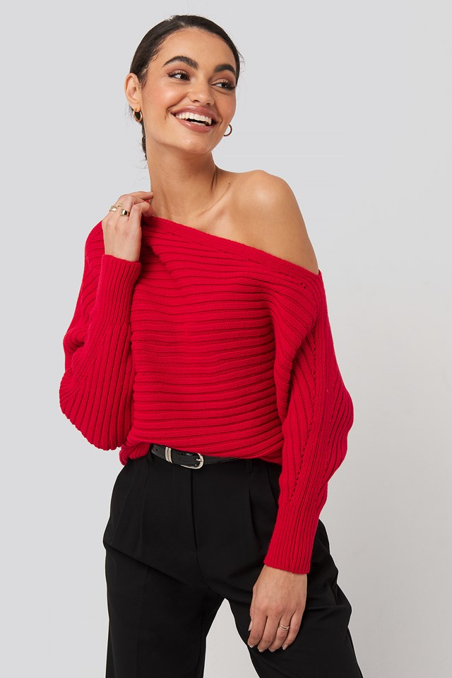 Boat Neck Knitted Sweater Trendyol