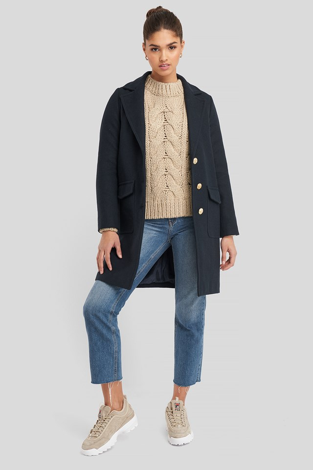 Button Detailed Coat Navy