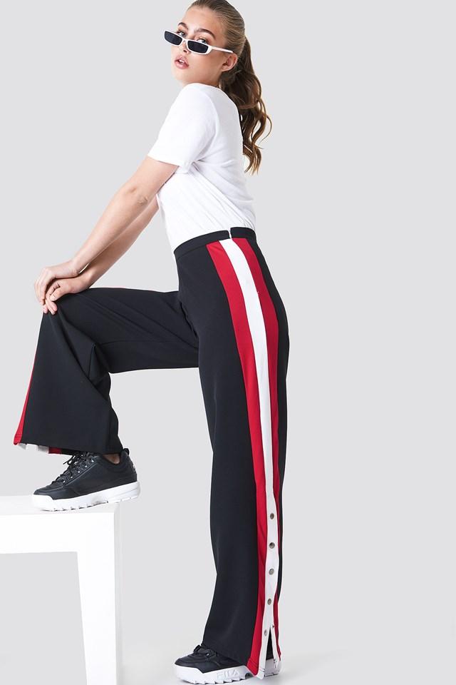 Button Detailed Stripe Pants Trendyol